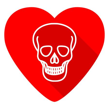 pirating: skull red heart valentine flat icon Stock Photo