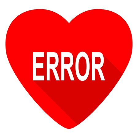 heart failure: error red heart valentine flat icon Stock Photo