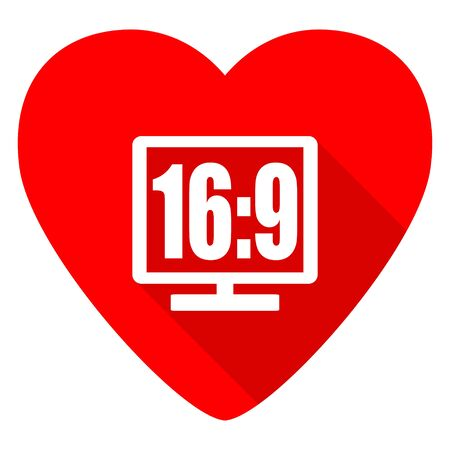 16 9: 16 9 display red heart valentine flat icon