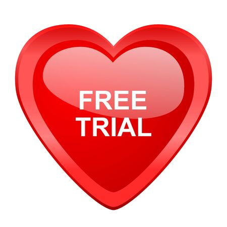 gratuity: free trial red heart valentine glossy web icon