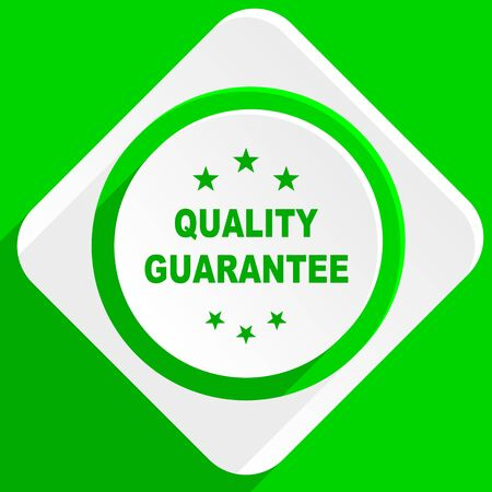 advantages: quality guarantee green flat icon