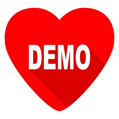 demo: demo red heart valentine flat icon Stock Photo