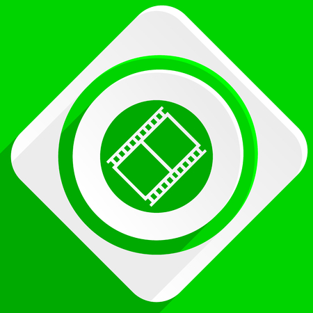 watch movement: film green flat icon Stock Photo