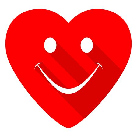 smile icon: smile red heart valentine flat icon Stock Photo