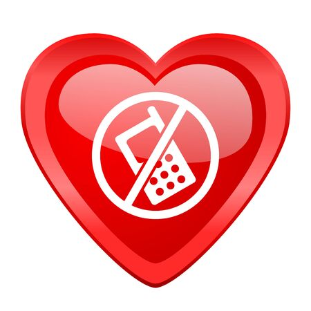 no cell phone: no phone red heart valentine glossy web icon Stock Photo