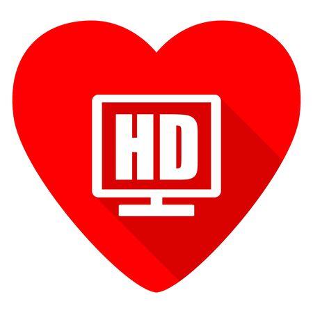 hd: hd display red heart valentine flat icon
