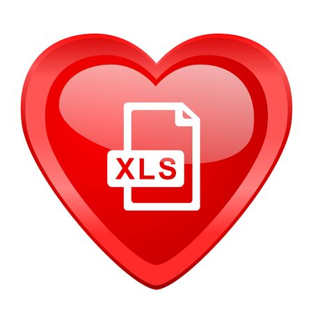 xls: xls file red heart valentine glossy web icon