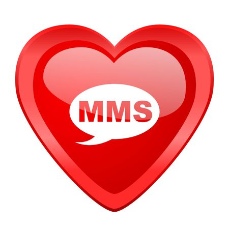 mms: mms red heart valentine glossy web icon Stock Photo