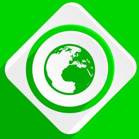 flat earth: earth green flat icon