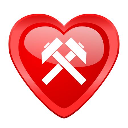 gold mine: mining red heart valentine glossy web icon