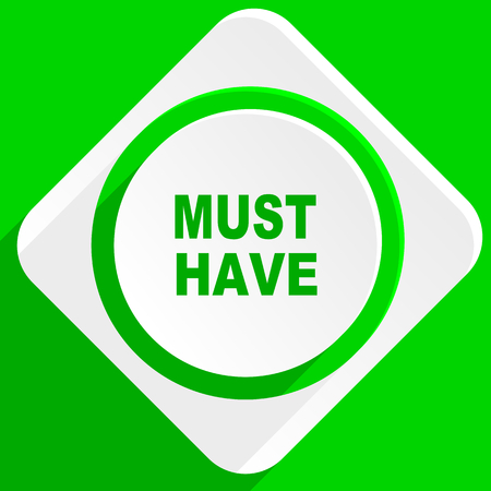 must: must have green flat icon Stock Photo