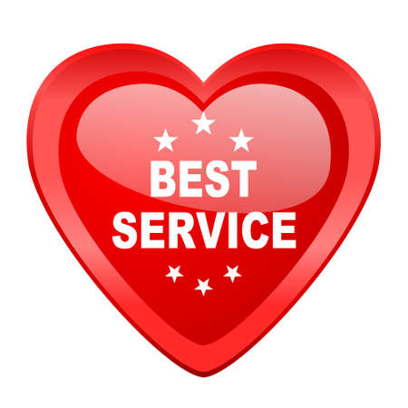 best service: best service red heart valentine glossy web icon Stock Photo