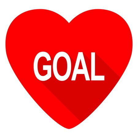 ambitions: goal red heart valentine flat icon