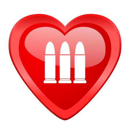 ammunition: ammunition red heart valentine glossy web icon