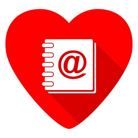 address: address book red heart valentine flat icon Stock Photo