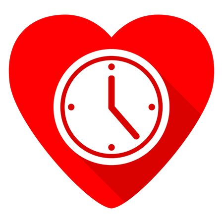 timing: time red heart valentine flat icon Stock Photo