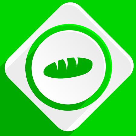 crusty: bread green flat icon