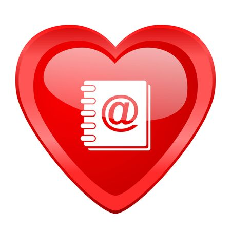web address: address book red heart valentine glossy web icon Stock Photo