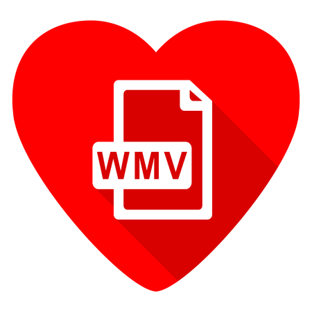 wmv: wmv file red heart valentine flat icon