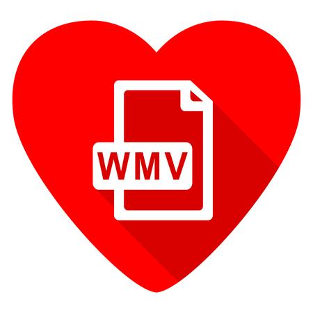 wmv: wmv file red heart valentine flat icon