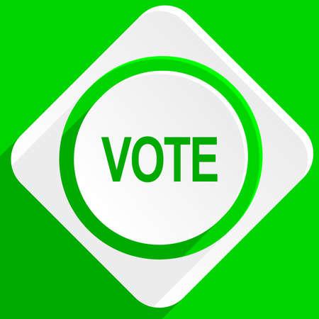 polls: vote green flat icon
