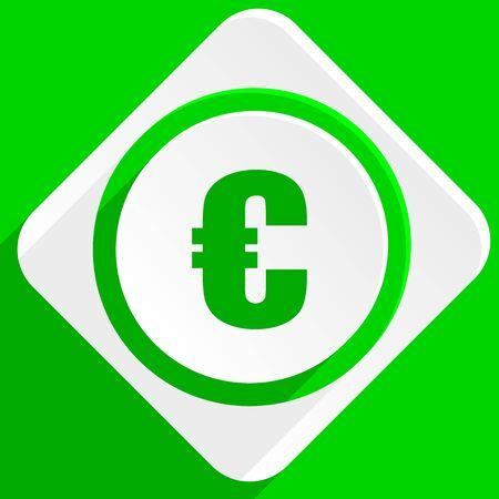 euro: euro green flat icon Stock Photo