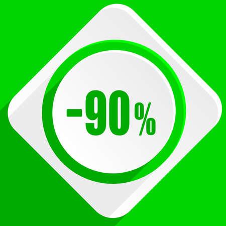 90: 90 percent sale retail green flat icon