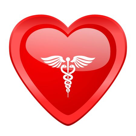 medical heart: emergency red heart valentine glossy web icon Stock Photo