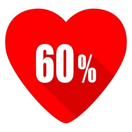 60: 60 percent red heart valentine flat icon