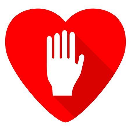 forbidden love: stop red heart valentine flat icon