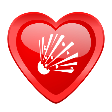 love explode: bomb red heart valentine glossy web icon Stock Photo