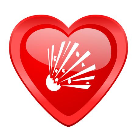 love dynamite: bomb red heart valentine glossy web icon Stock Photo
