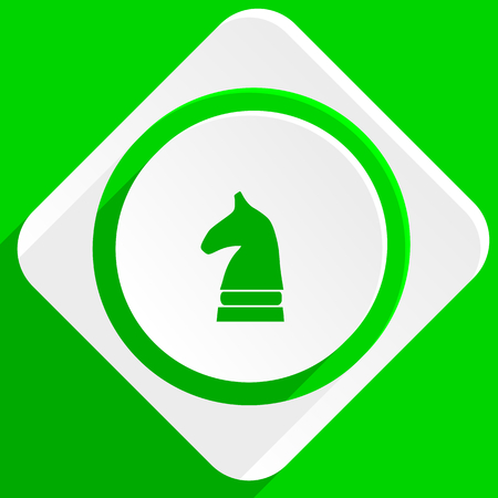 chess horse: chess horse green flat icon Stock Photo