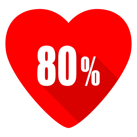 80: 80 percent red heart valentine flat icon