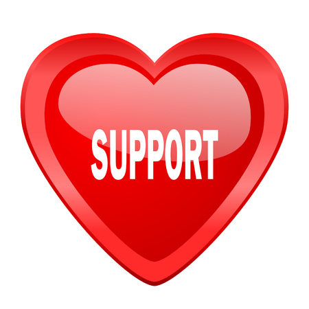advisor: support red heart valentine glossy web icon Stock Photo