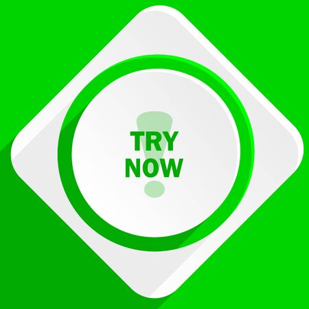 try: try now green flat icon