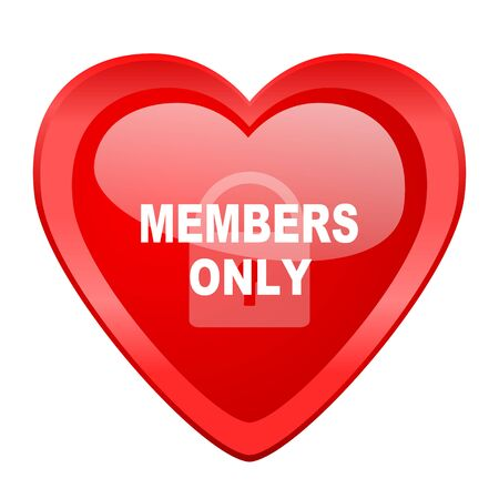 only members: members only red heart valentine glossy web icon