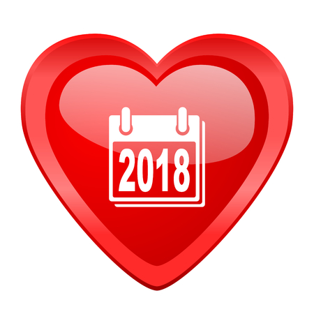 agenda year planner: new year 2018 red heart valentine glossy web icon Stock Photo