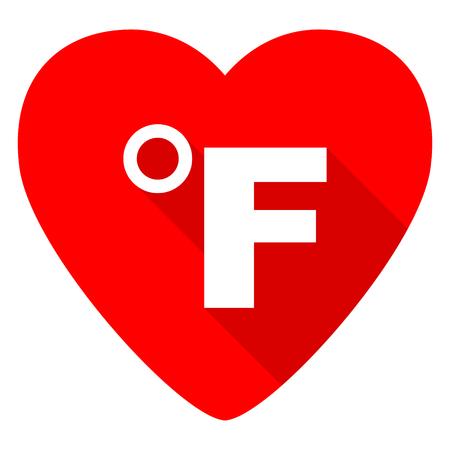 fahrenheit: fahrenheit red heart valentine flat icon Stock Photo