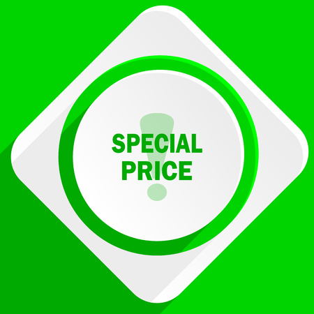 special price: special price green flat icon Stock Photo