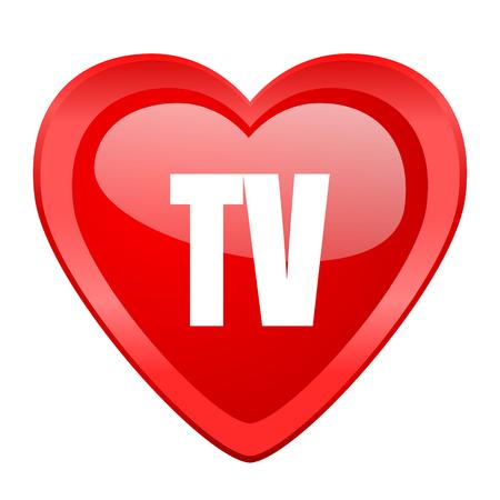 programm: tv red heart valentine glossy web icon