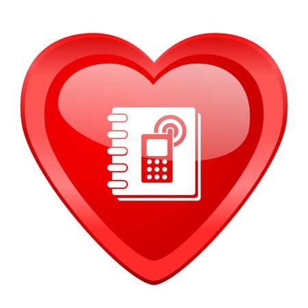 phonebook: phonebook red heart valentine glossy web icon