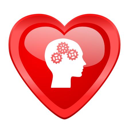 brainy: head red heart valentine glossy web icon Stock Photo