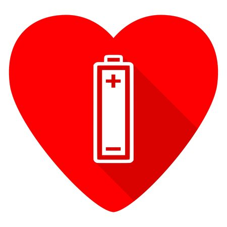 button batteries: battery red heart valentine flat icon