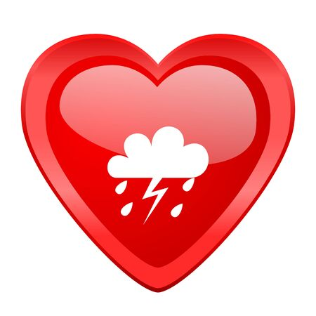 day forecast: storm red heart valentine glossy web icon