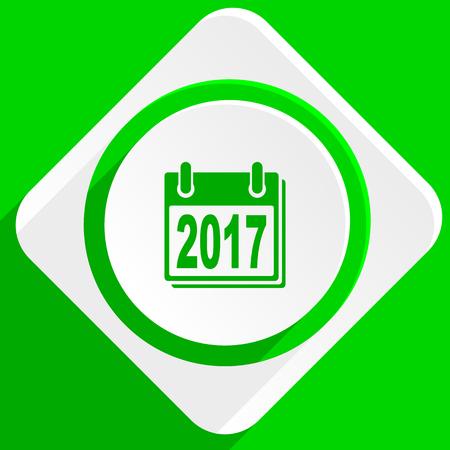 agenda year planner: new year 2017 green flat icon Stock Photo