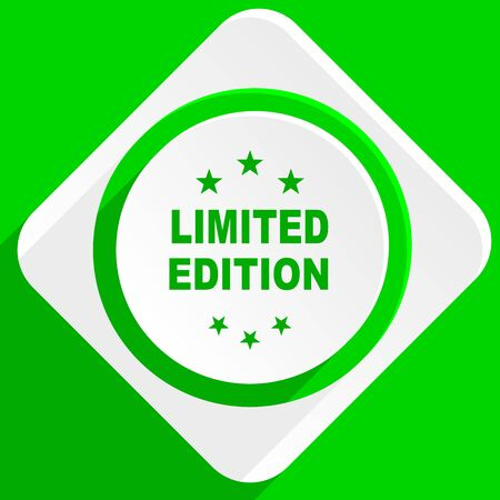 edition: limited edition green flat icon Stock Photo