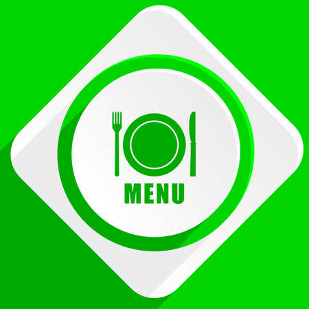 cater: menu green flat icon Stock Photo