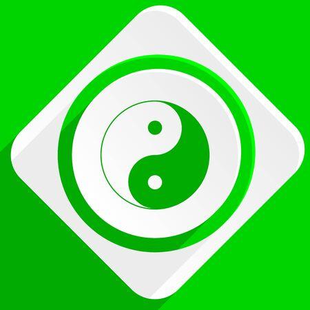ying: ying yang green flat icon