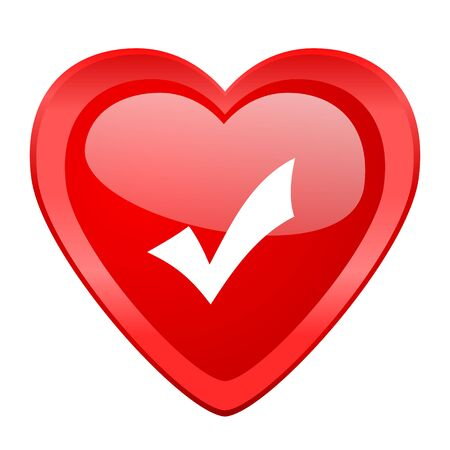 accept: accept red heart valentine glossy web icon Stock Photo